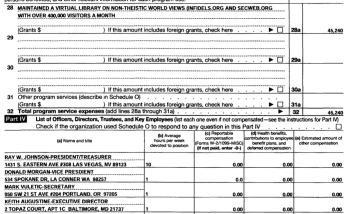 Internet Infidels IRS Form 990EZ 2014 showing directors come from different states, and the tax-exempt service was basically maintaining two websites.