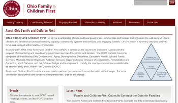 "http://www.fcf.ohio.gov While ""Fatherhood"" in Ohio is originated (at the state level) into 12 regions, CFCs are still set up, it seems, by its 88 counties, make just where the overlap happens, a little harder to become aware of UNLESS you're already eagle-eye on the subject matter and practices, that is, on government and social services financing."