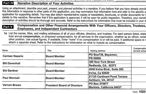 EIN#201645703 %22Stewards for Change Institute%22 NYS 2014 Charity Registration showing 5 Board Members (none in NY) w Vernon Brown, Pres.