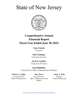 State of NJ CAFR for FYE June 30, 2015 (=%22fiscal year 2014) -- Title Page