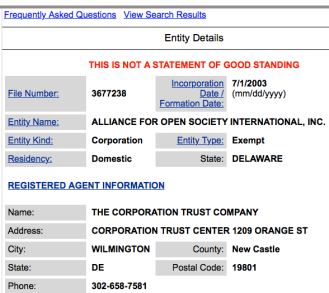 Showing from State of Delaware Corp search site that AOSI incorporated 7-1-2003 only