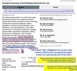 EDC's FY2001 Form 990 hs SLK Software Svcs LTD (hereBloombg'com) formed only 2000 as ½M Contractor (SShot 2017JUN25 at12.59.PM)