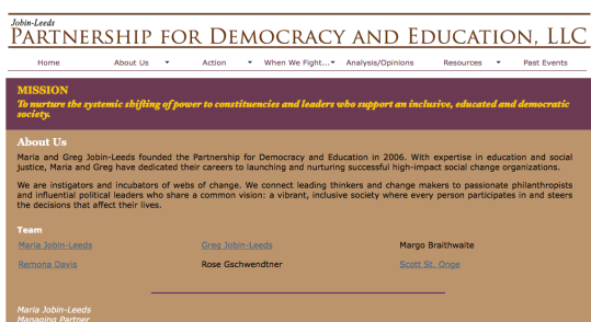 "Following the Jobin-Leeds family to ""Partnership for Democracy and Education"""