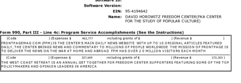 David Horowitz Freedom Center (runs 'Discover the Networks' which I was quoting) projects list on Sched O (EIN#954194642, Yr. 2014) #1 of sev'l images