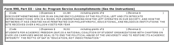 """EIN#954194642 (DH Freedom Center, a CA Org since 1984) Sched O, Yr 2014, describes """"Discover the Networks"""" as a Sched-O project"""
