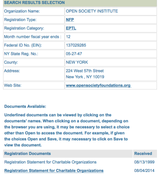 Showing Detail for NYSCharities.com regr of OSI (Which holds nearly $1.6B assets, moved 2014 to QOSI LLC (Cayman Islands $283M) and 1 other (similarly large) Verrry Interrresting return also shows over $100M grant to Institute for New Economic Thinking and notes a ½ billion loan ($500,000,000) from Geosor Corp...