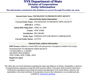 NYS Entity Search detail showing FTPOS Foundation registered 4/1/2009 in NY as a Delaware Not-for-profit