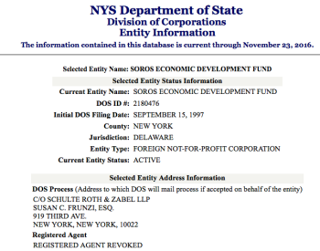 "Soros Eco Devpt Fund registered in 1997 as a Delaware Nonprofit (it also reads ""Reg. Agent Revoked"")"