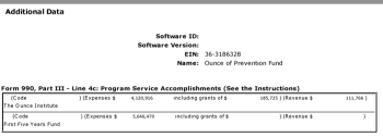 """PART of details of Progr Service Accomplishment 4c, under """"See additional Data"""" instruction (misplaced under 4c; 4d exists for that purpose, which then says """"put it on Schedule O) -- this is where FFYF shows up as a program. BUT -- above -- it's also an owned Disregarded LLC (with over $5M income that year) with a mailing address matching Ounce of Prevention/Chicago (although as a Delaware Org)"""