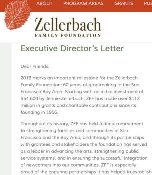ZFF.org, Exec Dir. Ltr. 2016