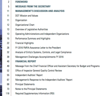 From 2016 Dept of Transportation Agency Financial Report available on its website. I'm curious how