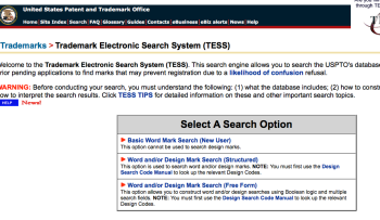 "USPTO.gov ""TESS"" (Trademark Electronic Search Site)"