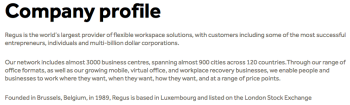 Regus PLC Company profile (owns? or operates the Milestown Business Park from which NFI (Fathersource(™)) does business, Suite #600 in Germantown MD