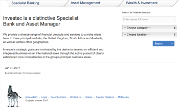 home page of Investec.com showing is tabs (areas of operation)