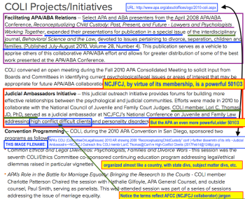 Click to read annotations full-sized; the originating URL is shown also on the screenprint apa_s-coli-committeeonlegalissues-2010-ar-showing-2008-e2809creconceptualzngchildcustodye2809d-conf-further-dissemntn-of-its-info-judicial-ambassadrsncjfcj-outreach-thru-coli-membr