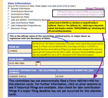 Yes Calif Indep Committee (PAC) General Info showing what forms not filed (since Nov 23 2015) Click to read full-sized annotated image
