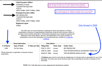 Bottom half of IBT Media Inc NY Corp Div filing showing only 2006 start date + 1000 issues of stock (no par value). And two prior names. Click to read larger version