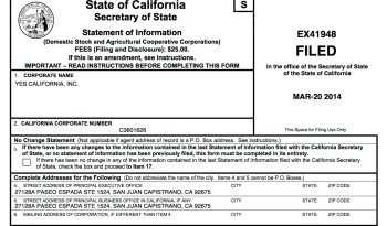 Calif Domestic Stock company Yes California Inc (SI 2014 top half)
