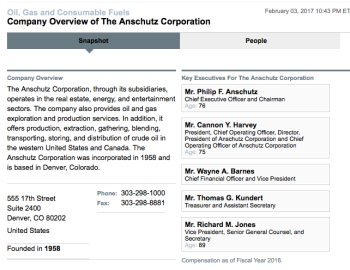 Bloomberg.com profile of The Anschutz Corporation taken Feb. 2017