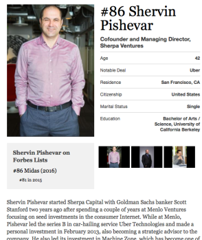 "Shervin Pishevar per Forbes ""The Midas List."" Click to read on-line"
