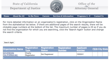 "California Nonprofit ""Sovereign California Inc"" (filed one SI in 2014 only) showing ""Not Registered."" We DNK if it's a PAC or not, however. And if no funds were received..."