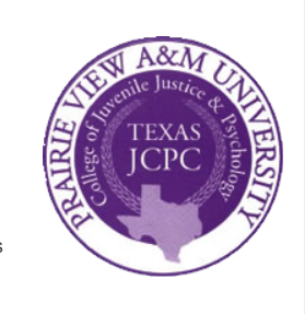 "Logo nestles the College of Juvenile Justice & Pscyhology"" inbetween outer ring (the University) and Inner logo, ""Texas JCPC"" -- whatever that is (!)"