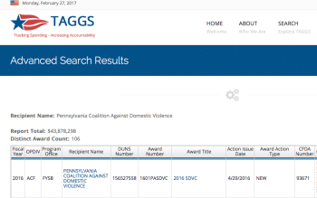 Top Left Image from a PCADV HHS grants (all kinds, any ,ind) search at TAGGS.hhs.gov.