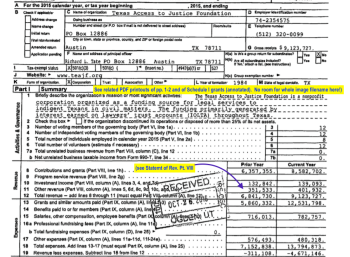 Look at the nearby pdfs, the EJ printout (Click on Org Name) or look up 2015 tax return for EIN# 74-2354575 to see complete return, incl. Pt VIII revs (etc.)