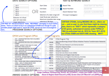 Click here to view full-sized (this is TAGGS AdvSearch fields, with CFDA scrolled to show a missing CFDA#93671