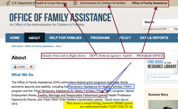"click for full-sized, although this is simply a home page under ""ABOUT"" at HHS/ACF/OFA referencing the programs, including the ""HMRF"" ones as well as TANF, it administers."