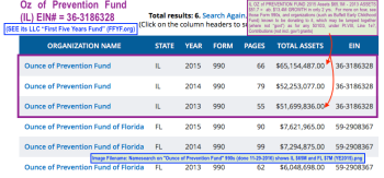 Ounce of Prevention Fund annotated search results (by org. name) at Form990finder shows the largest is in Illinois