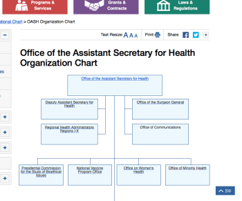 (no attached pdf this is so easy to find on main HHS.gov website) under OASH, showing (partial image) Office of Minority (and Women's, next to it) Health. There are more offices not shown in the image.