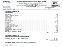 ChildJusticeInc in DC, EIN# 462593549, FY2015 Form 990EZ ** from CJI website [Salaries=55K not 60K, Ln21 matches Page2 top amt) ~ SShot 2017July12@5.09.10 PM