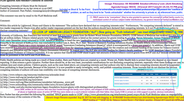 Contd from my aug 5 postan alternate viewpt on the anti smoking quote re ucsf glantz undisclosed in a paper conflicts of interest major funders of the ucsf center and prof glantz position include robt wood johnson fandeluxe Images
