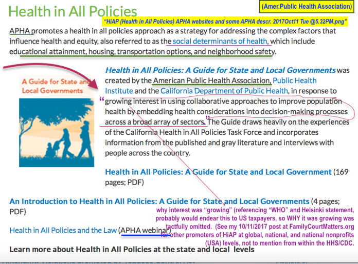 HiAP (Health in All Policies) APHA websites and some APHA descr. 2017Oct11 Tue @5.32PM