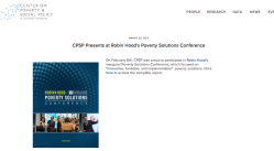 Columbia U's CPSP (Ctr on Pov + Social Policy) proud to join RHF Poverty Solutions Conference in Feb 2017 SShot 2017Dec15 at12.59PM
