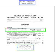 """J. Juv. L. Vol. 6 (1982), TOC showing Agopian/Anderson is leading (p.1) article and establishing which College of Law published the journal. (the College became a """"University"""" just four years later)."""