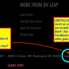 DVLEAP.org, bottom margin: Have a magnifying glass? In this case, it won't help anyhow (links direct elsewhere on site).