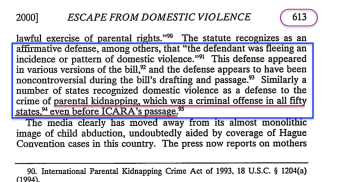 Escape from DV** FordhamLawReview (2000 Vol69, p593ff) (re Hague Conventn, CRC, Changing Stereotypes + US Laws re Parental Abductn | cites Agopian) ~2018Jan17 Wed @8.40.57 PM 00016