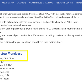 Janet Walker,OBE (2010ff)is AFCC Member, FCR Editorial Board, Stanley Cohen 2005 awardee, Chair of its Int'l Committee -- AND referenced in FamilyInitiative'org'UK (Voices in the Middle)