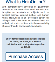 """""""HeinOnLine is an affordable option for colleges and universities."""" Not, often, for individuals, although the publications are often deliberations on matters that affect the masses (the population) deeply, and having this information timely might help us protect our own best interests, or contribute, even absent the designation """"professional"""" (JD, PhD, etc.) or being attached somehow to a university, to such conversations.."""