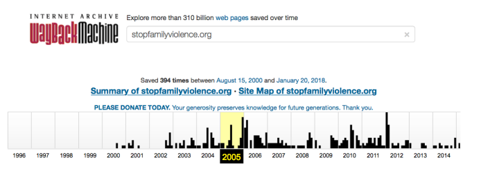 StopFamilyViolence (formerly SFVO'org, a TIDES project (ie not incorp) by 2006) 2000ff WayBack Machine cf DVLEAP DV Orgs ~~ taken 2018Jan27 Sat@3.10.03 PM