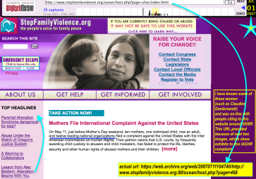 StopFamilyViolence (formerly SFVO'org, a TIDES project (ie not incorp) by 2006) 2000ff WayBack Machine cf DVLEAP DV Orgs ~~ taken 2018Jan27 Sat@3.20.26 PM