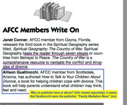 AFCC Newsltr 2006 Member + ('Write On' (Member-Published) Sectns (context=CFCJ Canadian UFC promoter, G Czutrin Oct16,2017 Intvw) Viewed 2018Feb5 Mon @12.50.49PM