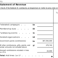 """LSC FY2016 Form 990, Pt. VIII Statemt of Revenues showing 387M (vast majority) is Line 1e, Gov't grants. It has a related org. I learned later (Friends of the) but enters no support from it -- the """"Friends"""" entity bought, holds, manages. and leases to LSC its Washington D.C. HQ, what I assume must be in a prime location (3333 K St. NW); related org. formed 27 yrs after LSC itself. (1974 v. 2001, per tax returns of each)"""