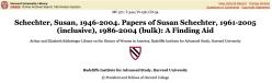 Susan Schechter Papers + bio blurb @ Harvard Univ Library OASIS ~ accessed [SShot] 2018Feb10 Sati @5.57.45PM