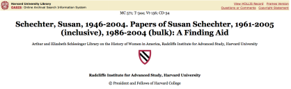Susan Schechter Papers + bio blurb @ Harvard Univ Library OASIS ~ accessed [SShot] 2018Feb10 Sati @5.57.45 PM