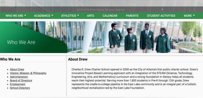 "Drew Charter School ""About"" doesn't explain its a nonprofit but does have good photos and promo.. No FS or tax returns shown, however)."