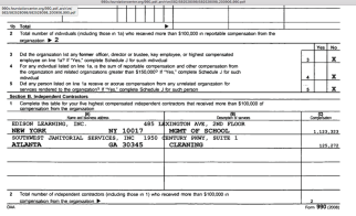 Image #3 of 3: FY2008 Tax Return for Drew Charter School (Atlanta) EIN#582528098: Pt. VIIA (Officers, Directors), bottom part claiming 2 officers paid over $100K though the same section shows no one paid anything). ALSO copied here to show Edison Learning Inc is managing the school (for-profit, $1M). Websearch shows it's international (also in the UK) and now? in NJ. Later cleaning services for the school show as being subcontracted out to an Alabama corporation...