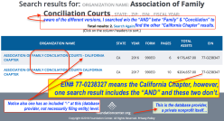 Assoc of Family Conciliatn Cts-search on '990finder' reveals Calif Chapter (EIN#770238347) FYE 2016+2017 Forms 990EO~~SShot 2018May08 @4.50.38PM